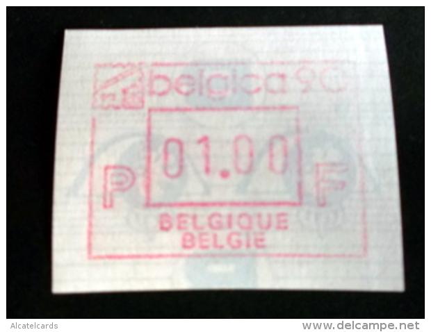 """Automatenmarken: Belgien - BELGICA 90 """"KOPFSTEHENDE ATM"""": F N. - Vignettes D'affranchissement"""