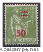 France Type Paix N°  480 ** Surchargé 50 Sur 75c Olive - 1932-39 Peace