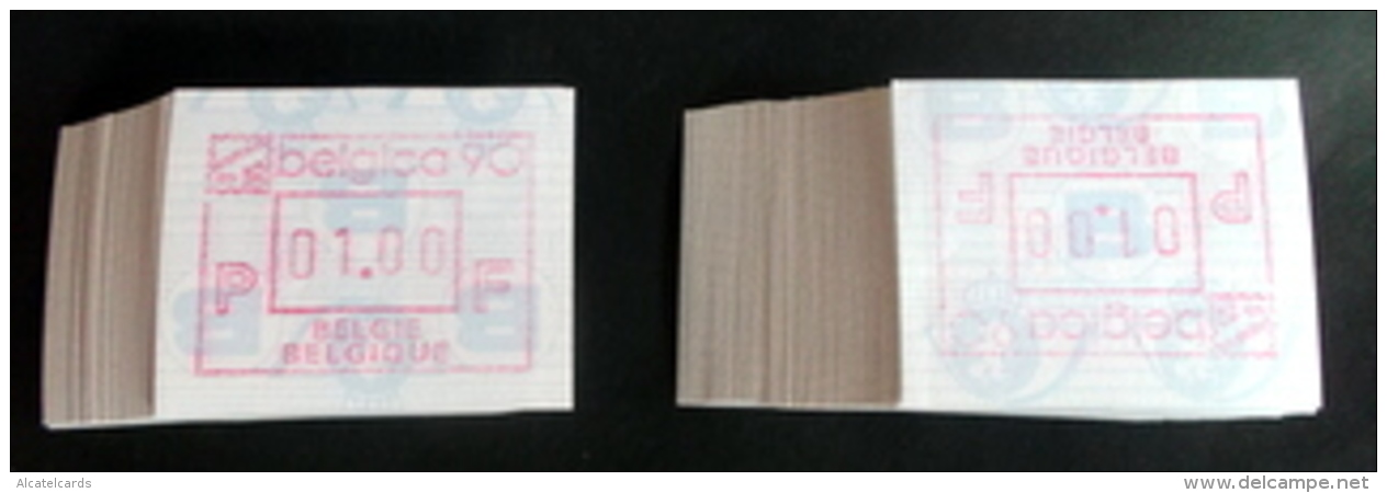 "Automatenmarken: Belgien - 100 X BELGICA 90 ""KOPFSTEHENDE ATM"": F + N. - Vignettes D'affranchissement"