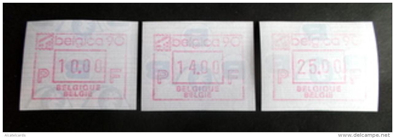 "Automatenmarken: Belgien - BELGICA 90 ""KOPFSTEHENDE ATM"": Satz F N. - Automatenmarken (ATM)"