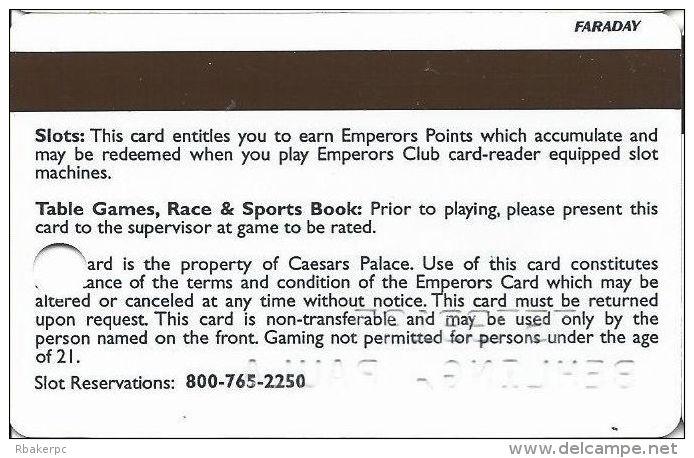 Caesars Palace Casino Las Vegas, NV Slot Card - Faraday Over Mag Stripe - Casino Cards