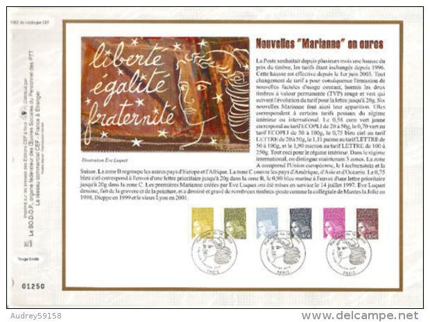 CEF FRANCE 2003 NOUVELLES MARIANE EN EUROS YT 3570/3575 - Postdokumente