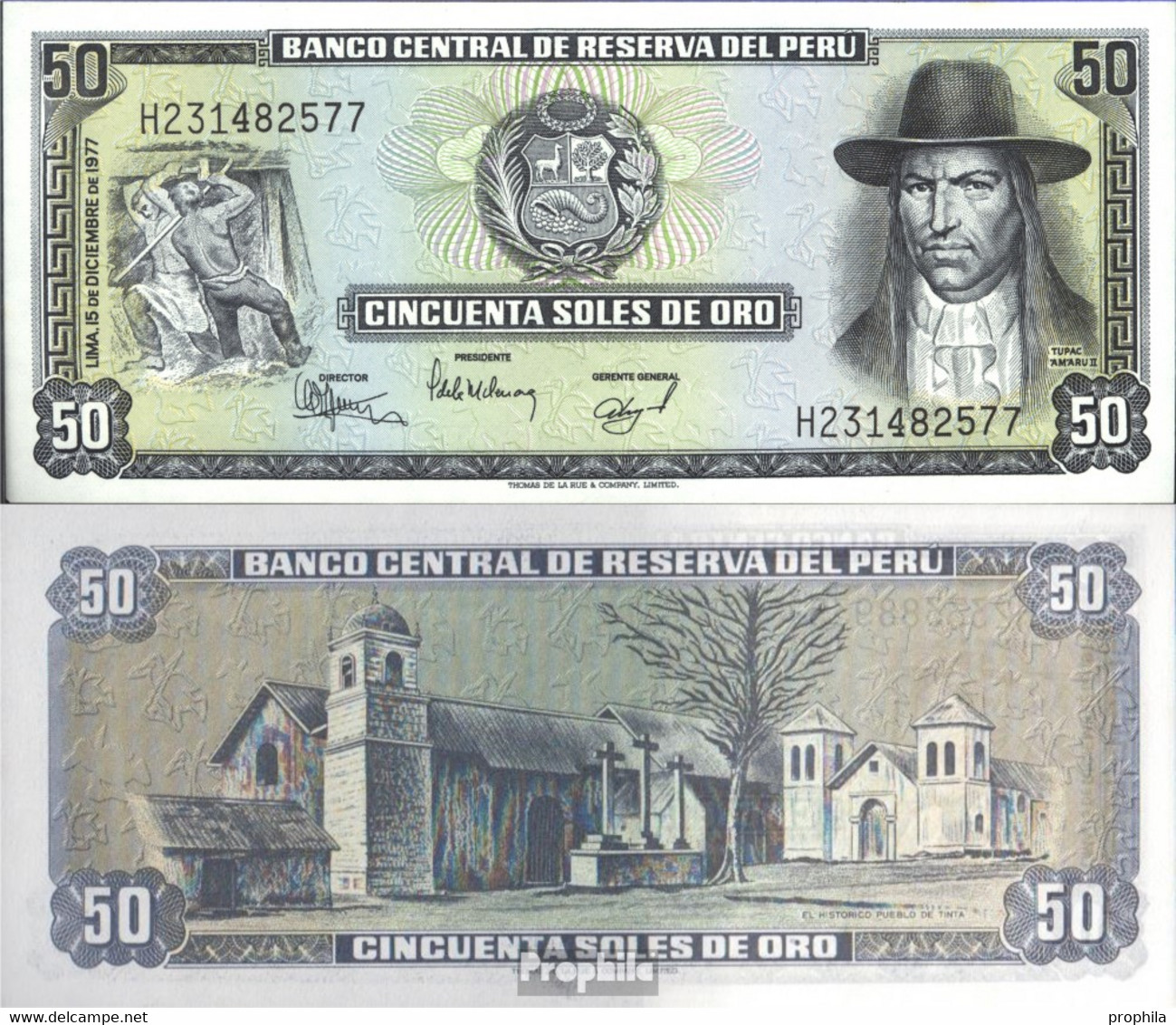 Peru Pick-Nr: 113 Bankfrisch 1977 50 Soles Oro - Perú