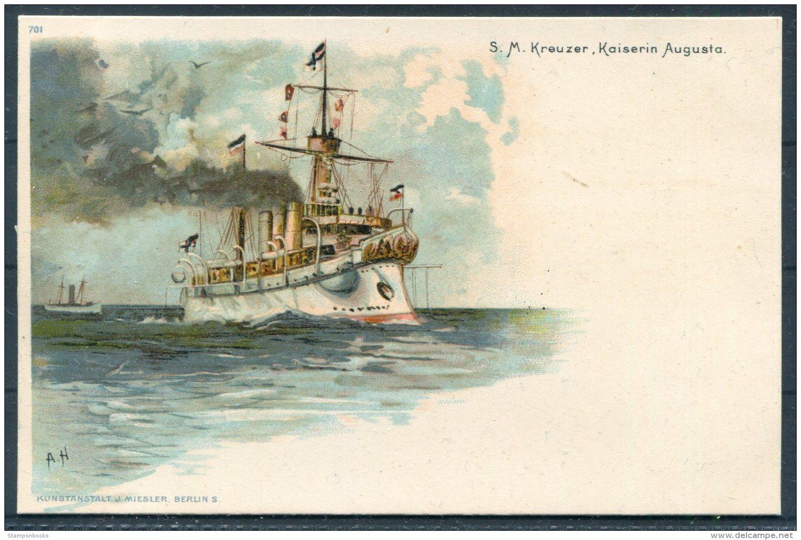 S.M. Kreuzer Kaiserin Augusta Deutsche Kriegsschiff Litho Postcard - Warships