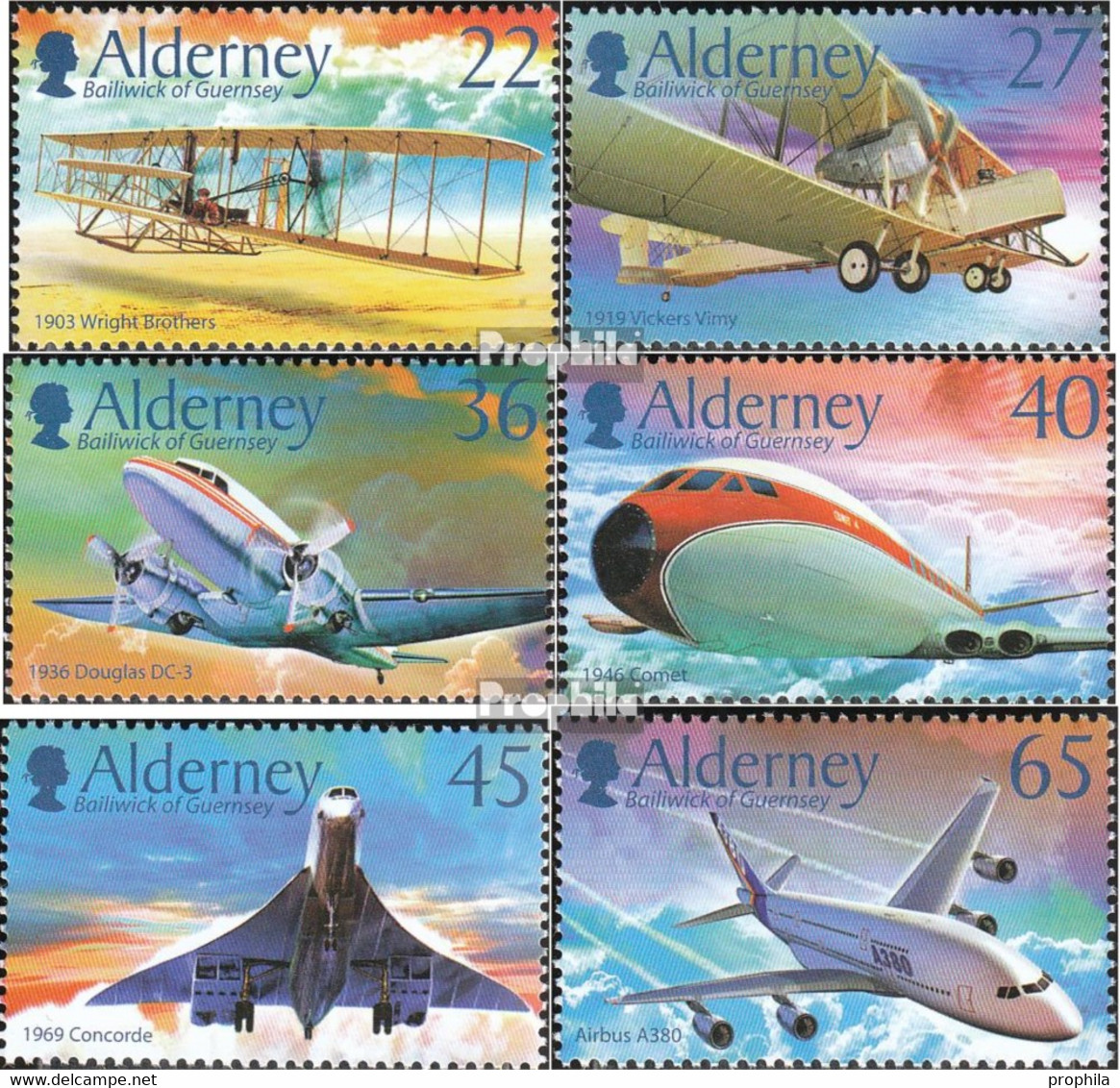 GB - Alderney Mi.-Nr.: 206-211 (kompl.Ausg.) Postfrisch 2003 100 Jahre Motorflug - Alderney