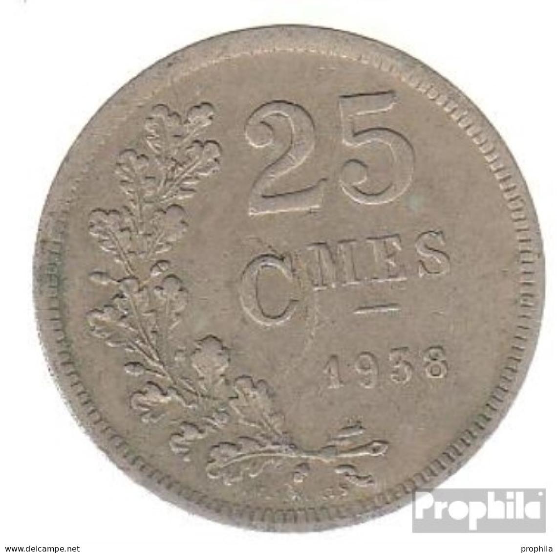 Luxemburg KM-Nr. : 42 1938 Sehr Schön Kupfer-Nickel Sehr Schön 1938 25 Centimes Wappen - Luxemburg