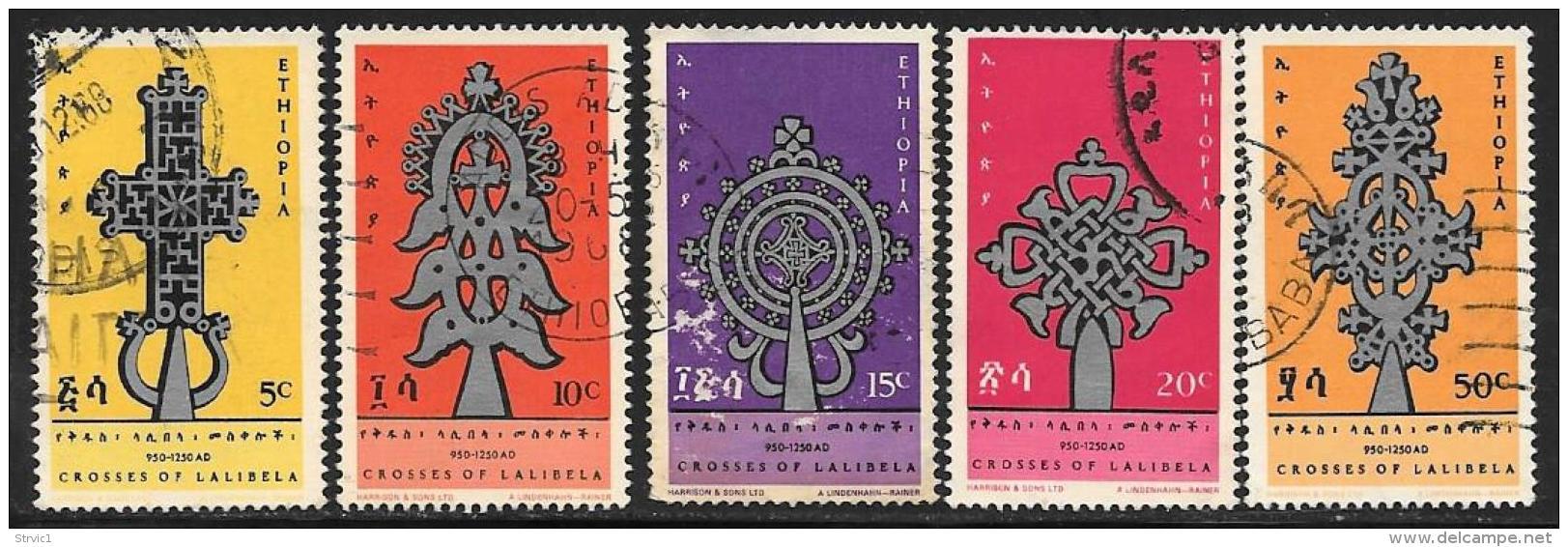 Ethiopia, Scott # 492-6 Used Crosses Of Lalibela, 1967, #494 Has Face Scrapes - Ethiopia