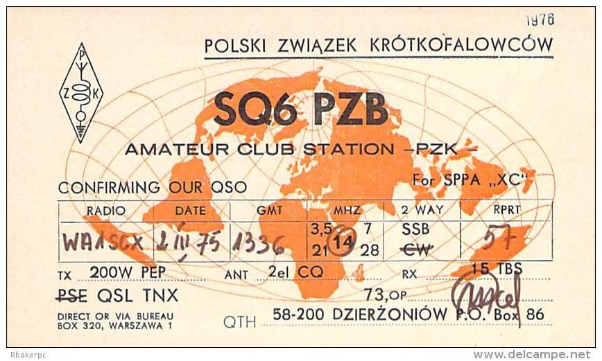 Amateur Radio QSL Card - SQ6PZB - Poland - 1975 - Radio Amateur