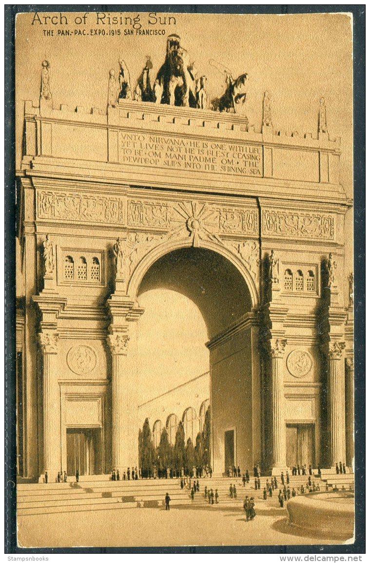 1915 Pan Pac Expo - San Francisco Arch Of Rising Sun Postcard - Exhibitions