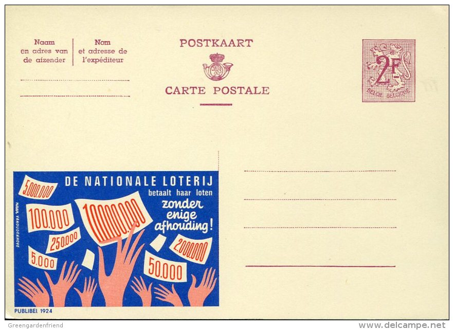11576 Belgium  Stationery Card  2f -    The Lottery,  Loterie,  Lotterie - Giochi