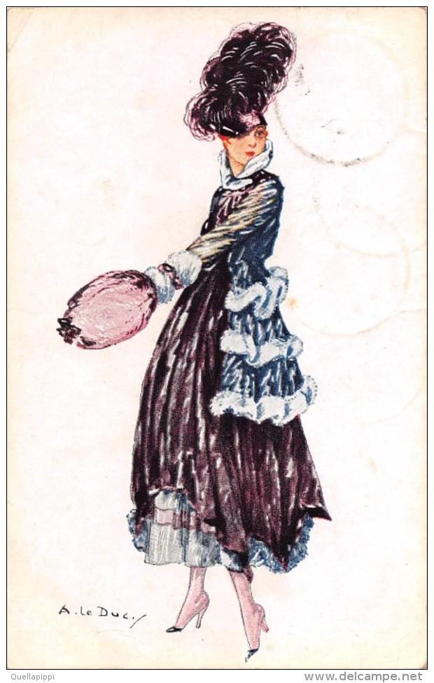 """04645 """"RITRATTO FEMMINILE"""" LIBERTY -GIOVANE SIGNORA -  FIRMATA  A. LE DUC - CART SPED 1917 - Moda"""