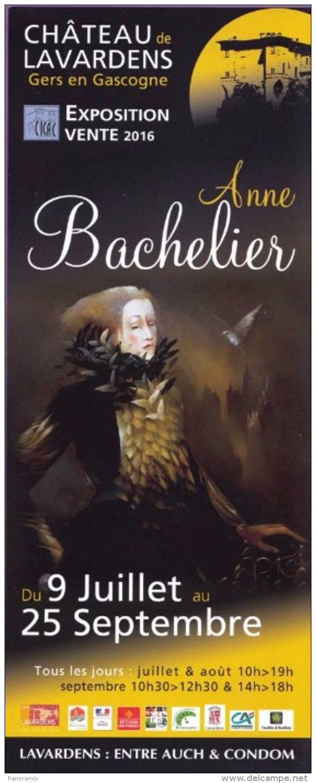 Marque-page °° Lavardens 32 - Expo 2016 Anne Bachelier - Flyer 9x21 - Marque-Pages
