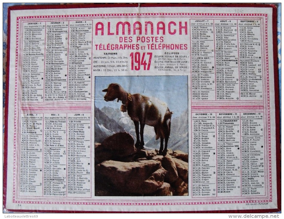 ALMANACH DES POSTES ET DES TELEGRAPHES 1947 - ILLUSTRATION : PECHE EN RIVIERE - Calendriers