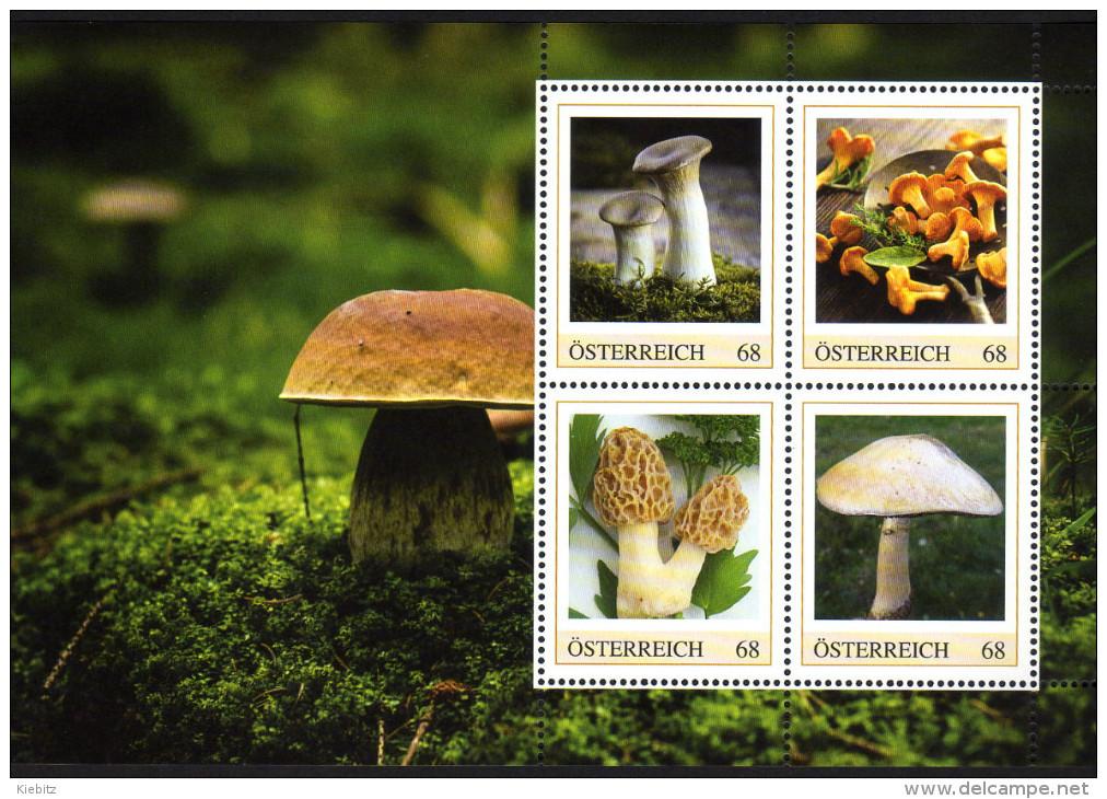 ÖSTERREICH 2016 ** Speisepilze / Kräuterseitling, Eierschwammerl, Speismorchel, Wiesenchampinon - PM Personalized Stamp - Ernährung