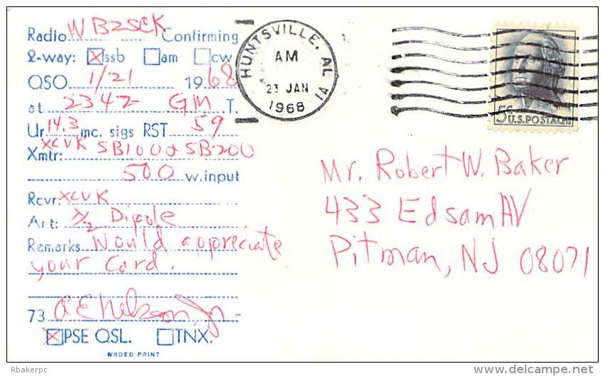 Amateur Radio QSL Card - WA4JRJ - Huntsville, AL USA - 1968 - 2 Scans - Radio Amateur