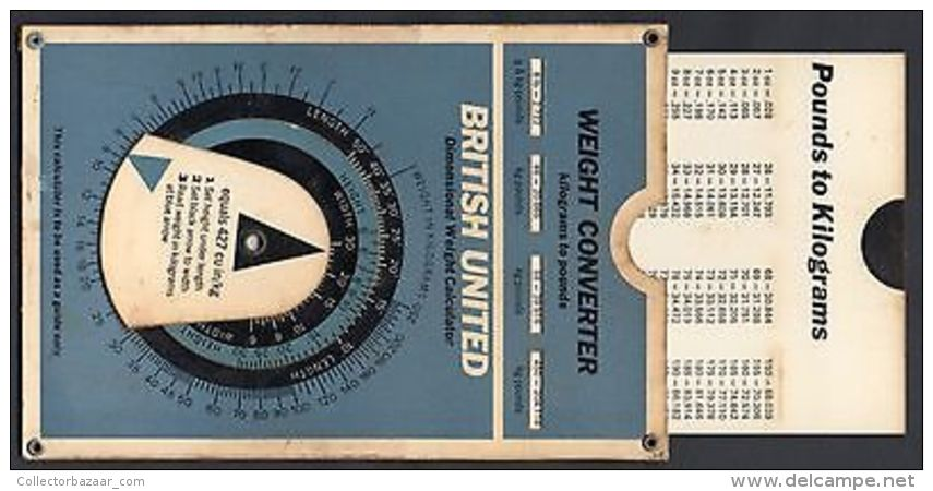 BRITISH UNITED AIRLINE AVIATION ORIGINAL COLLECTIBLE WEIGHT CONVERTER CA1950 - Unclassified