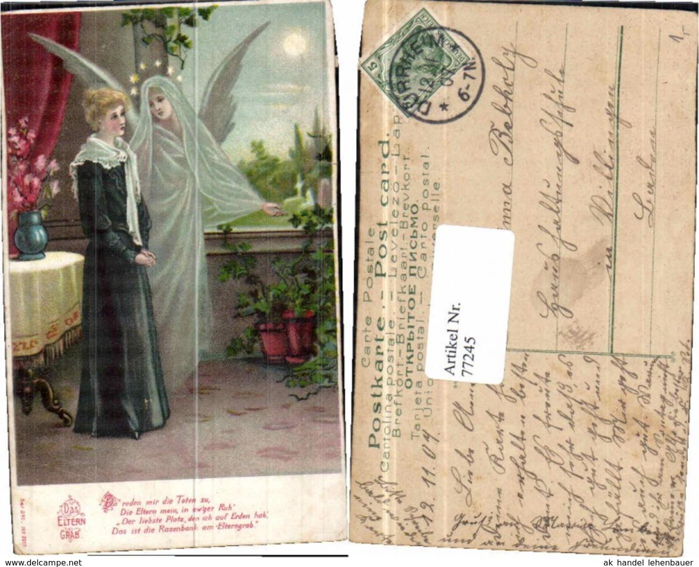 77245,Engel Elterngrab Litho 1900 - Engel