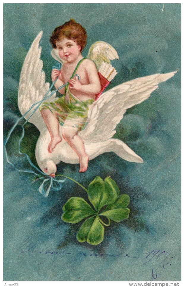 4793. CPA GAUFREE ILLUSTRATEUR. CUPIDON SUR UNE COLOMBE TENANT UN TREFLE - 1900-1949
