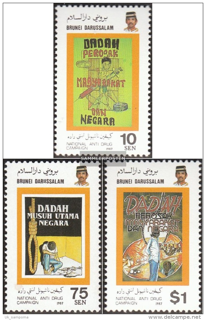 Brunei 352-354 (complete Issue) Unmounted Mint / Never Hinged 1987 Anti-Drugs-Campaign - Brunei (1984-...)