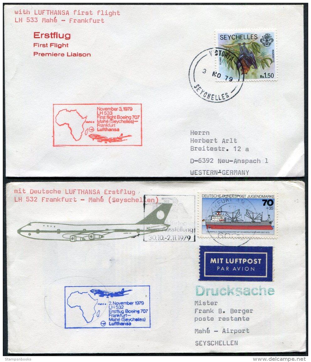 1979 Seychelles Germany Lufthansa Mahe / Frankfurt First Flight Covers (2) - Seychelles (1976-...)