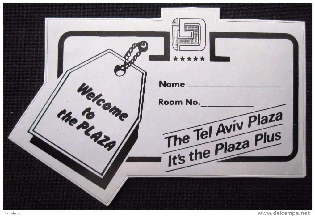 HOTEL MOTEL PENSION RESIDENCE HOUSE PLAZA TEL AVIV HAIFA ISRAEL STICKER DECAL LUGGAGE LABEL ETIQUETTE AUFKLEBER - Hotel Labels