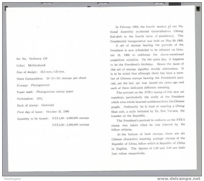 FORMOSE TAIWAN Republic Of China Philatelic Bulletin No. 15 Chiang Kai-shek 1966 - Taiwan (Formose)
