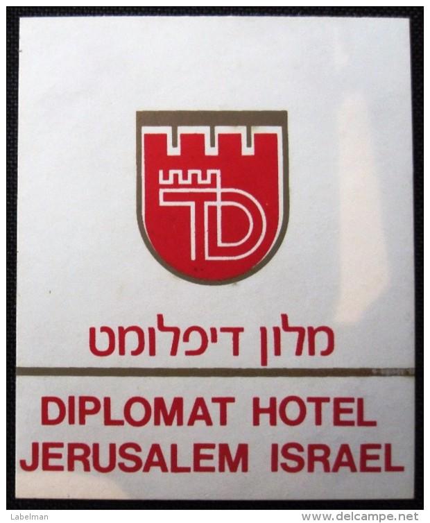 HOTEL MOTEL DIPLOMAT JERUSALEM TEL AVIV VINTAGE OLD ISRAEL TAG STICKER DECAL LUGGAGE LABEL ETIQUETTE AUFKLEBER - Hotel Labels