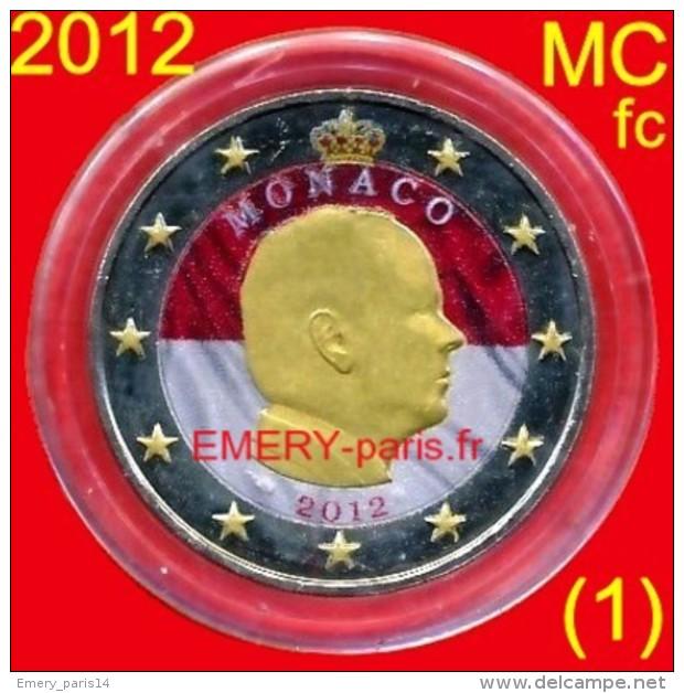 2 Euro COULEUR Farbe Color MONACO 2012 Colorisée (1ère) Pièce Normale De 2,oo Euro, Le Prince Albert II - Monaco