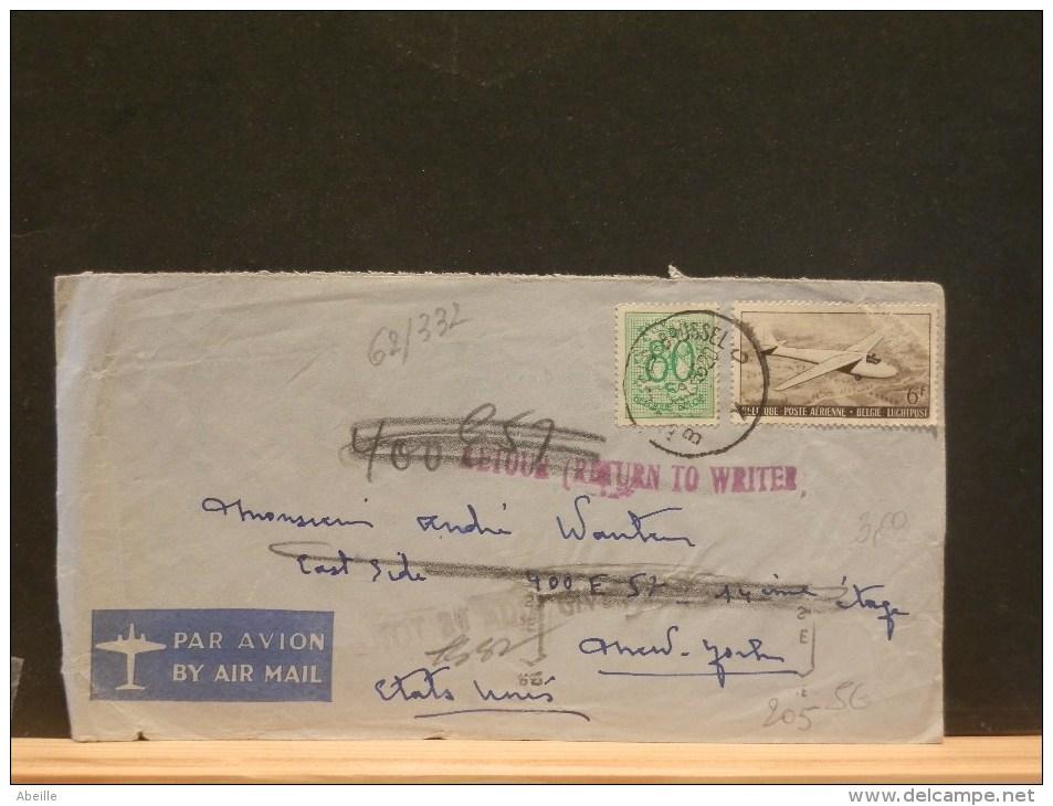 62/332  LETTRE  POUR USA  RETOUR  1956 - Luchtpost