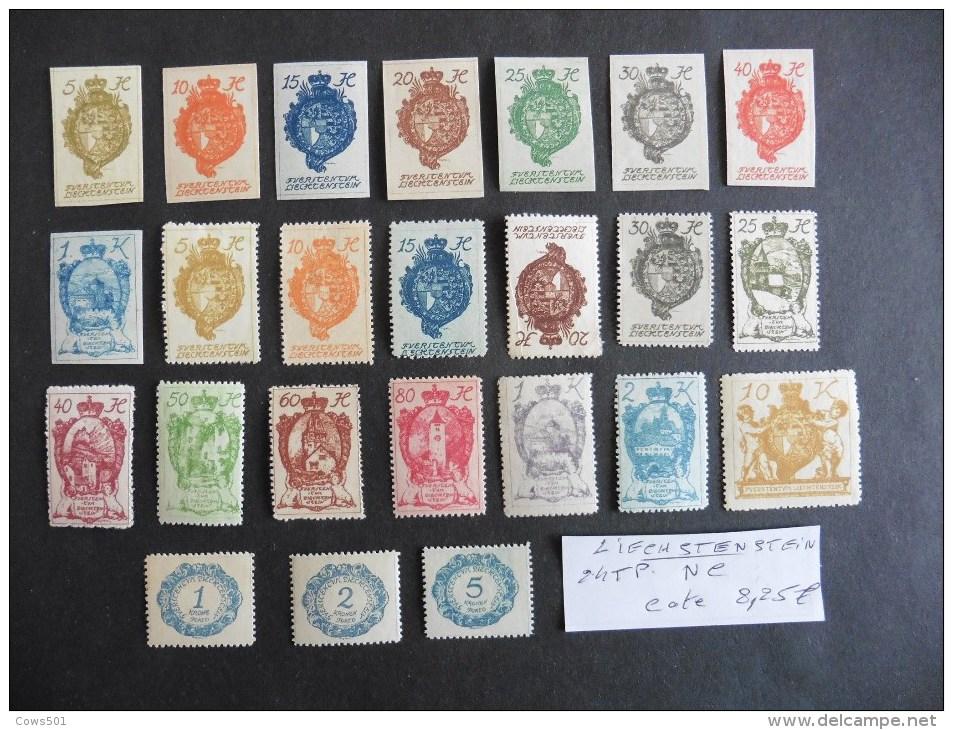Liechtenstein 24 Timbres Neufs Charnière - Collections