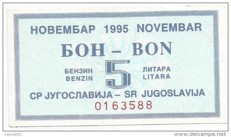 Yugoslavia 1995. Fuel Petrol Gasoline Benzin Essence  Coupon - Yougoslavie
