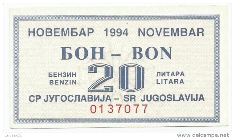 Yugoslavia 1994. Fuel Petrol Gasoline Benzin Essence  Coupon - Yougoslavie