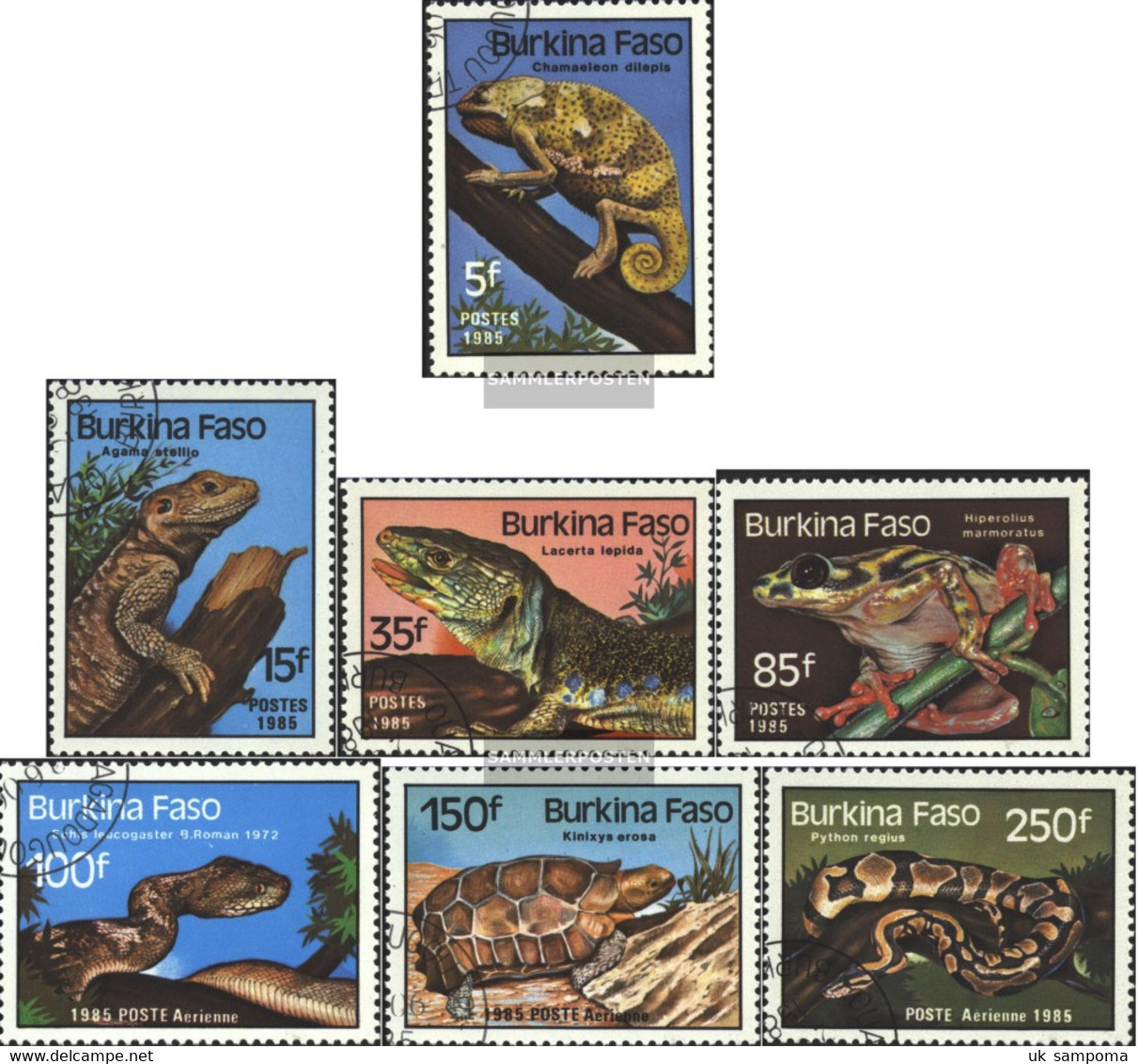 Burkina Faso 1005-1011 (complete Issue) Unmounted Mint / Never Hinged 1985 Reptiles - Burkina Faso (1984-...)