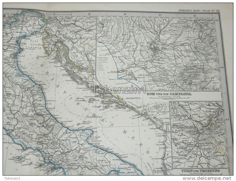 Italy Croatia Sicilia Roma Etna Turin Malta Corsica Sardinien Karte Map 47x39 Cm ~1882 - Carte Geographique