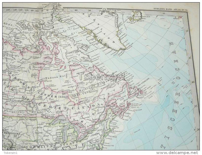 North America Canada Mexico Cuba Gronland Alaska Guetamala Honduras Haiti Island Map 47x39 Cm ~1882 - Geographical Maps