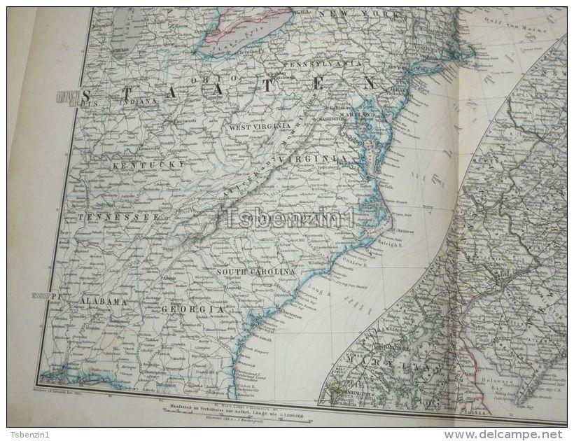 North America United States USA Washington Boston New York New Foundland Alabama Virginia Carolina Map 47x39 Cm ~1882 - Geographical Maps