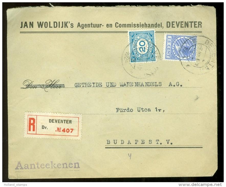 R * AANGETEKENDE BRIEFOMSLAG Uit 1924 Van DEVENTER Naar BUDAPEST HONGARIJE * MENGFRANKERING (10.475n - Cartas