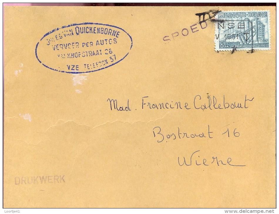 Omslag Enveloppe - Vervoer Van Quickenborne Deinze - Verstuurd Naar Wieze - 1951 - Ganzsachen