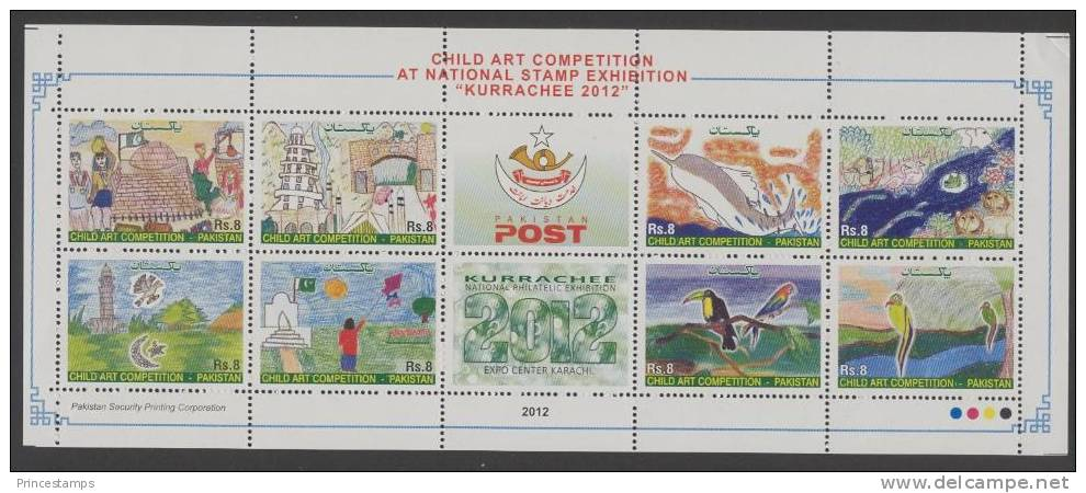 Pakistan (2012) - MS -  /  Children Drawings - Dessins - Dolphin - Toucan - Fish - Birds - Art - Vogels