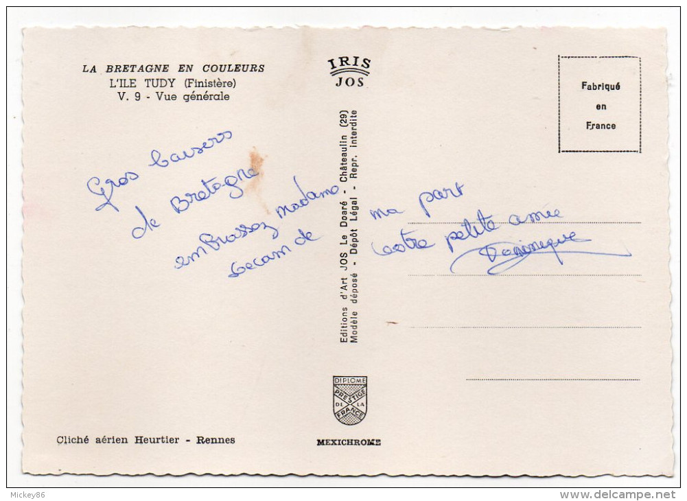 Ile TUDY--Vue Générale Aérienne ,cpsm 15 X 10 N° V .9 éd Jos----...à Saisir - Ile Tudy