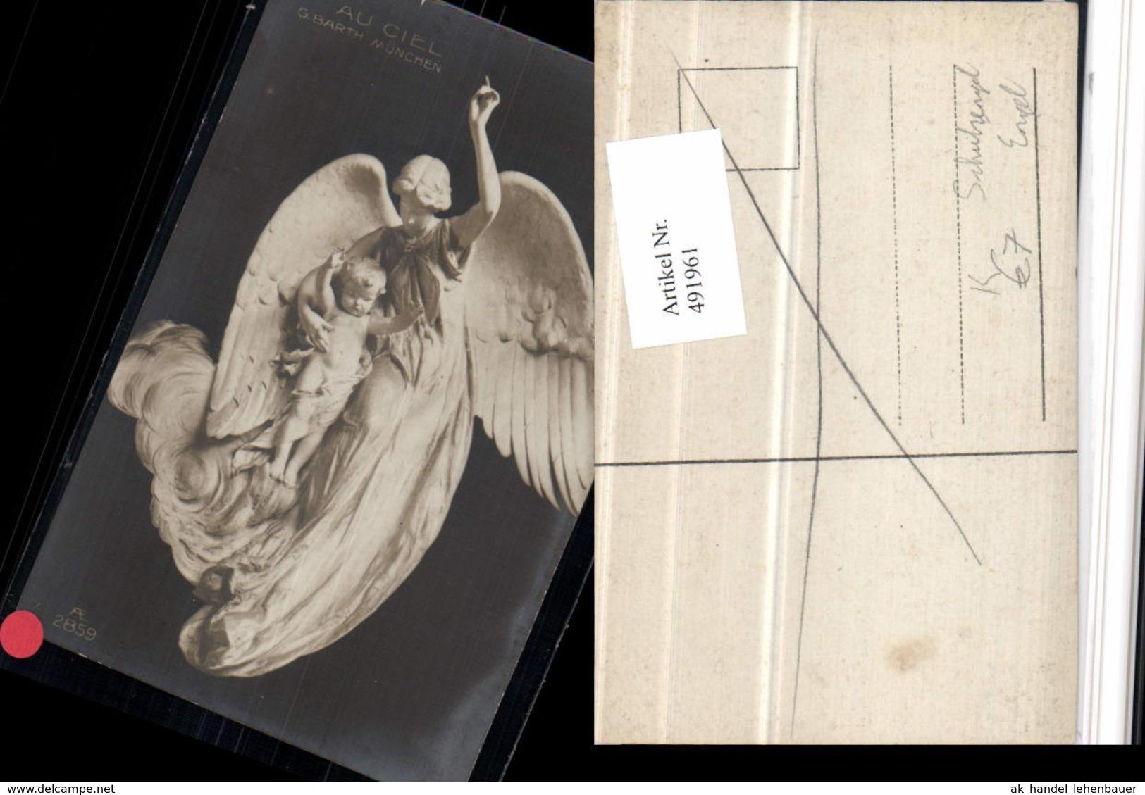 491961,Künstler AK G. Barth Schutzengel Engel Statue - Engel
