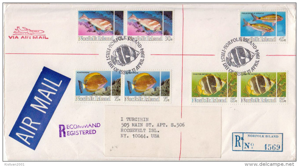 Postal History Cover:Norfolk Fishes Stamps On Cover - Fishes