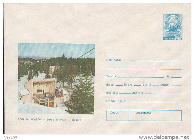 TOURISM, POIANA BRASOV MOUNTAIN RESORT CABLE CAR STATION, COVER STATIONERY, ENTIER POSTAL, 1975, ROMANIA - Holidays & Tourism
