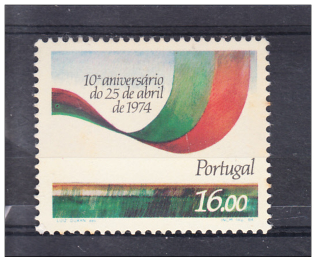 PORTUGAL 1984.AFINSA  Nº 1655. 10º ANIVERSARIO DO 25 DE ABRIL   SES348GRANDE - 1910-... República