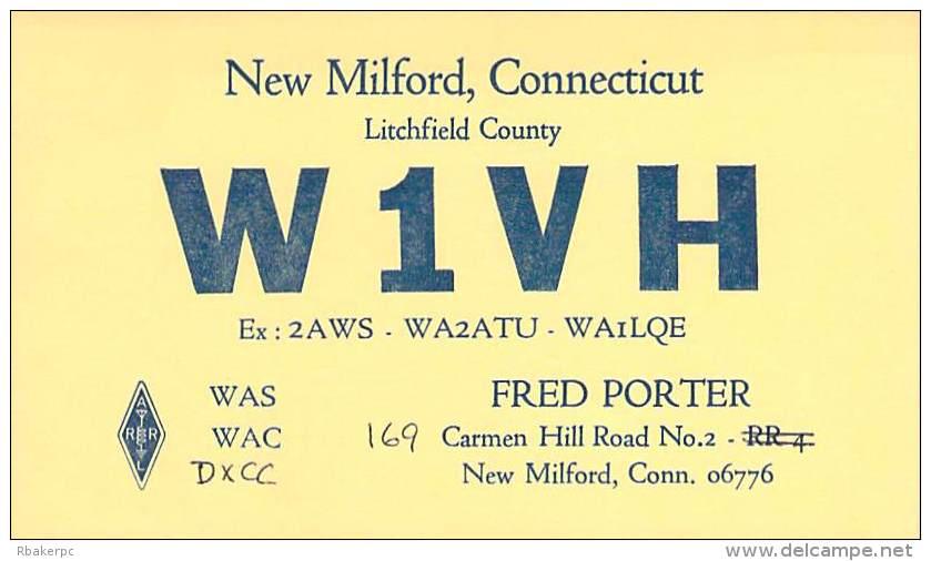 Amateur Radio QSL - W1VH - New Milford, CT -USA- 1975 - 2 Scans - Radio Amateur