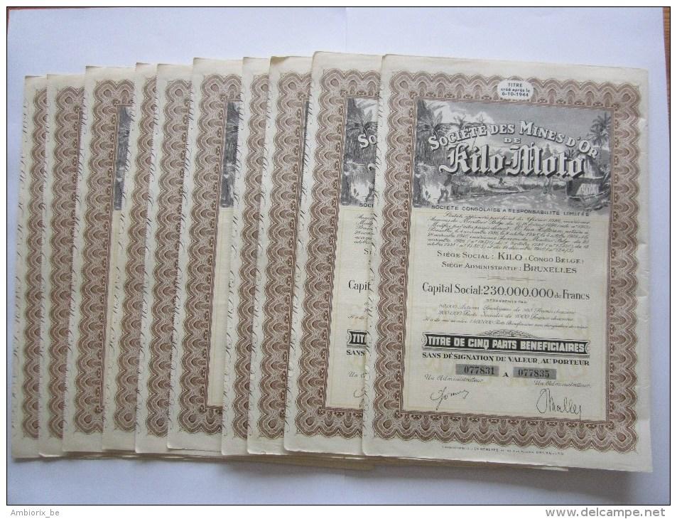 Société Des Mines D´Or De Kilo-Moto - Capital 230 000 000 - Titre De Cinq Parts Bénéficiares SDVN - 10 Titres - Mines