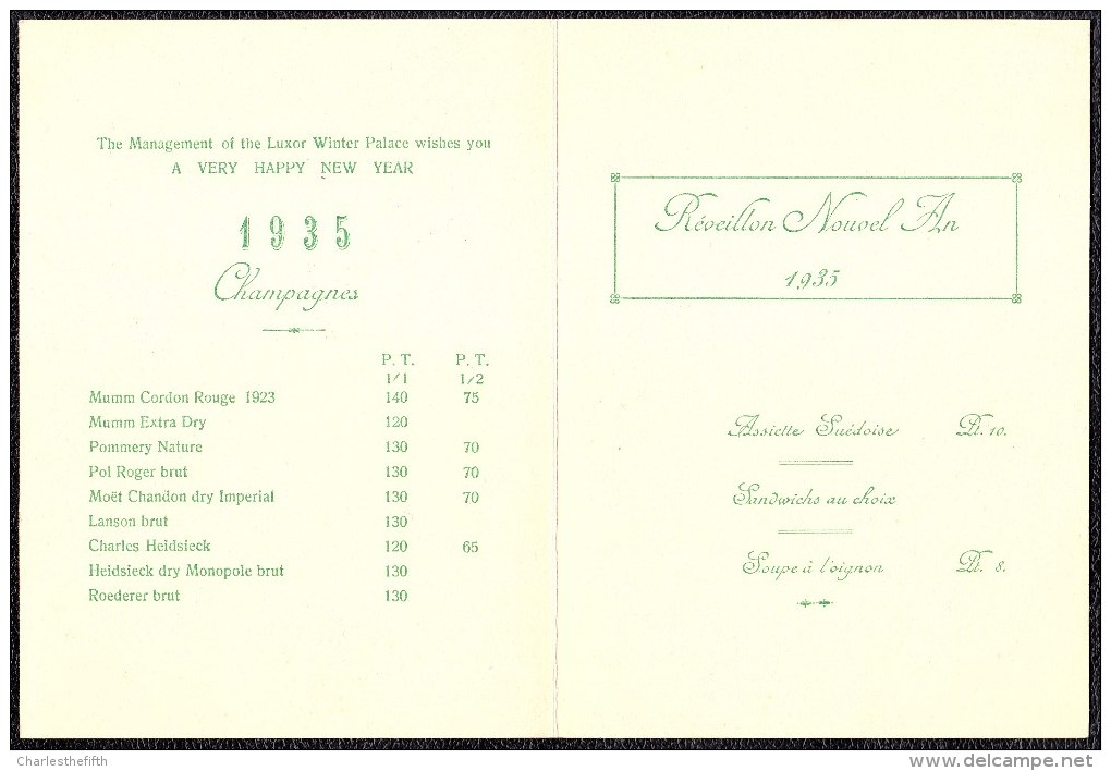 EGYPT - SUPERBE GRAND MENU  1935 REVEILLON AU WINTER PALACE A LUXOR !! COLORE A LA MAIN - Menus