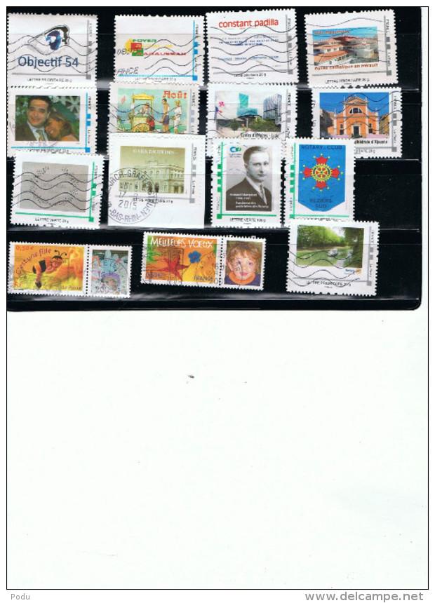 FRANCE Personnalisés Mon Timbre à Moi Lot De 15 Timbres (o) Prix 13,50 Euros - Personalized Stamps (MonTimbraMoi)