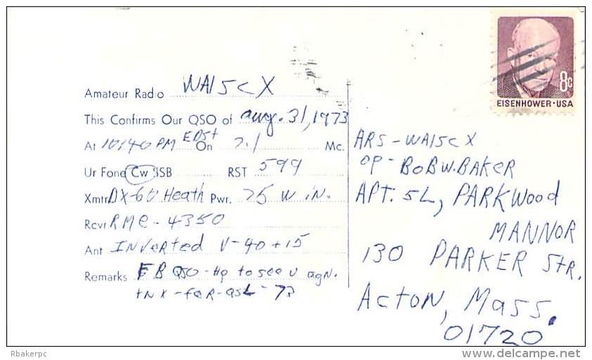 Amateur Radio QSL - WN1SEN - Maynard, MA -USA- 1973 - 2 Scans - Radio Amateur