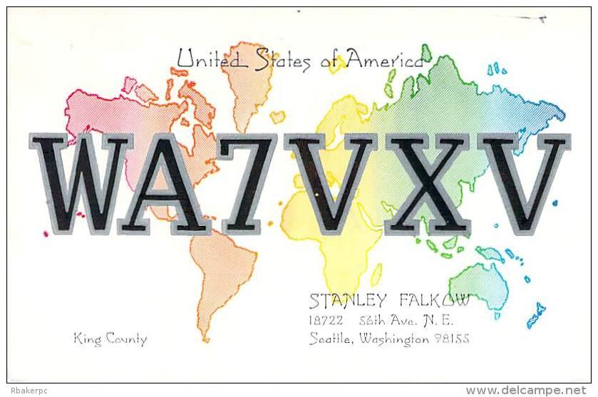 Amateur Radio QSL - WA7VXV - Seattle, WA -USA- 1974 - 2 Scans - Radio Amateur